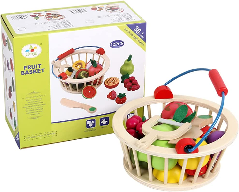 CICITOYWO Wooden Pretend Cutting Fruit Vegetables Food Play Toy Set Kitchen Game Accessories Gift for Kids Toddlers 3 Years Old with Basket Magnet Wooden Cutting Fruits and Veggies Toy (Fruit)