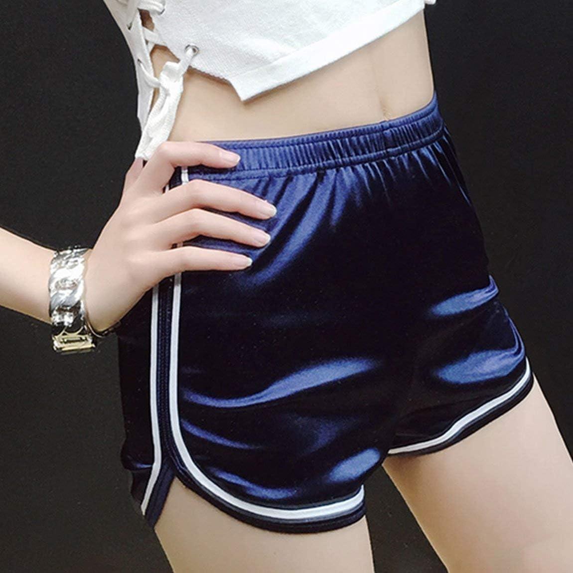 Mode Femme Shorts Taille Haute Brillant Brillant Sport Remise en Forme Shorts Ceinture /élastique l/âche Occasionnel Pantalon Court pour l/ét/é
