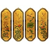Oriental Furniture Golden Birds & Flowers Curved Wall Plaques