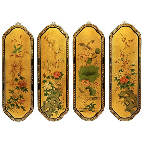 Oriental Furniture Golden Birds & Flowers Curved Wall Plaques by ORIENTAL FURNITURE