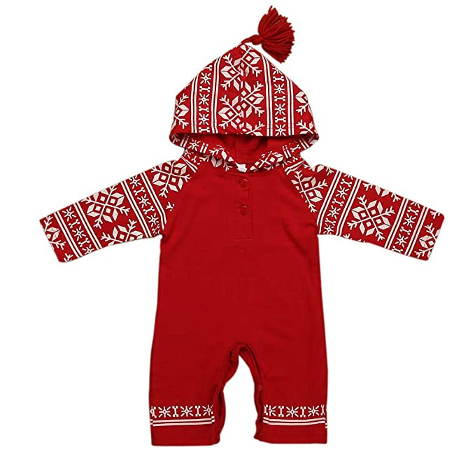 11d737c04 Mingfa Newborn Baby Girl Boy Christmas Hooded Jumpsuit Romper Winter Long  Sleeve Xmas Print Pajamas Outfits 6-24 Months: Amazon.co.uk: Clothing