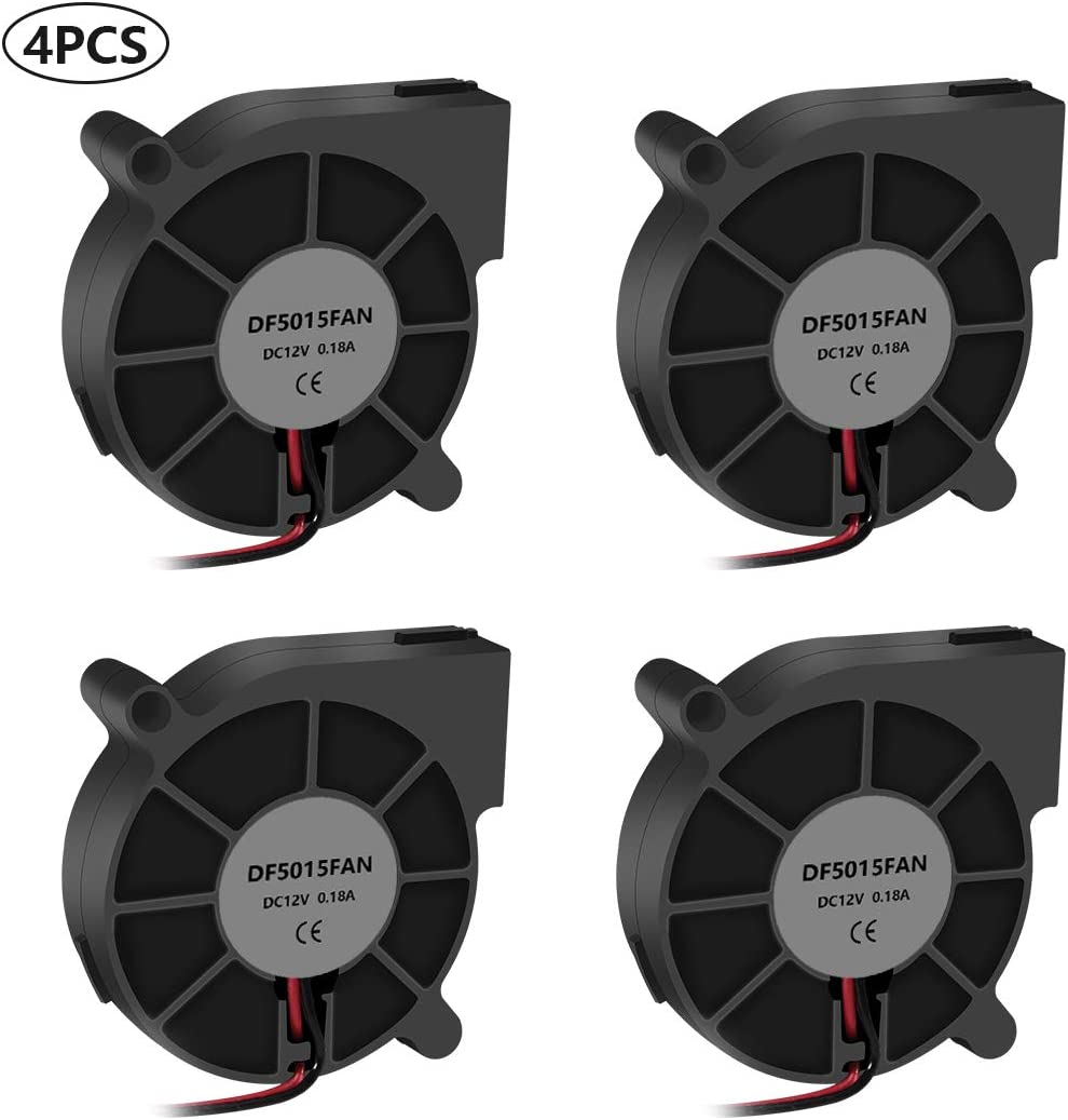 4PCS 3D Printer Cooling Fan 5015 12 V DC Blower Cooling Fan 50x50x15mm Fan for Hotend Extruder Heat Sinks with 2 Pin Terminal and Other Small Appliances Series Repair Replacement(12V 0.18A)
