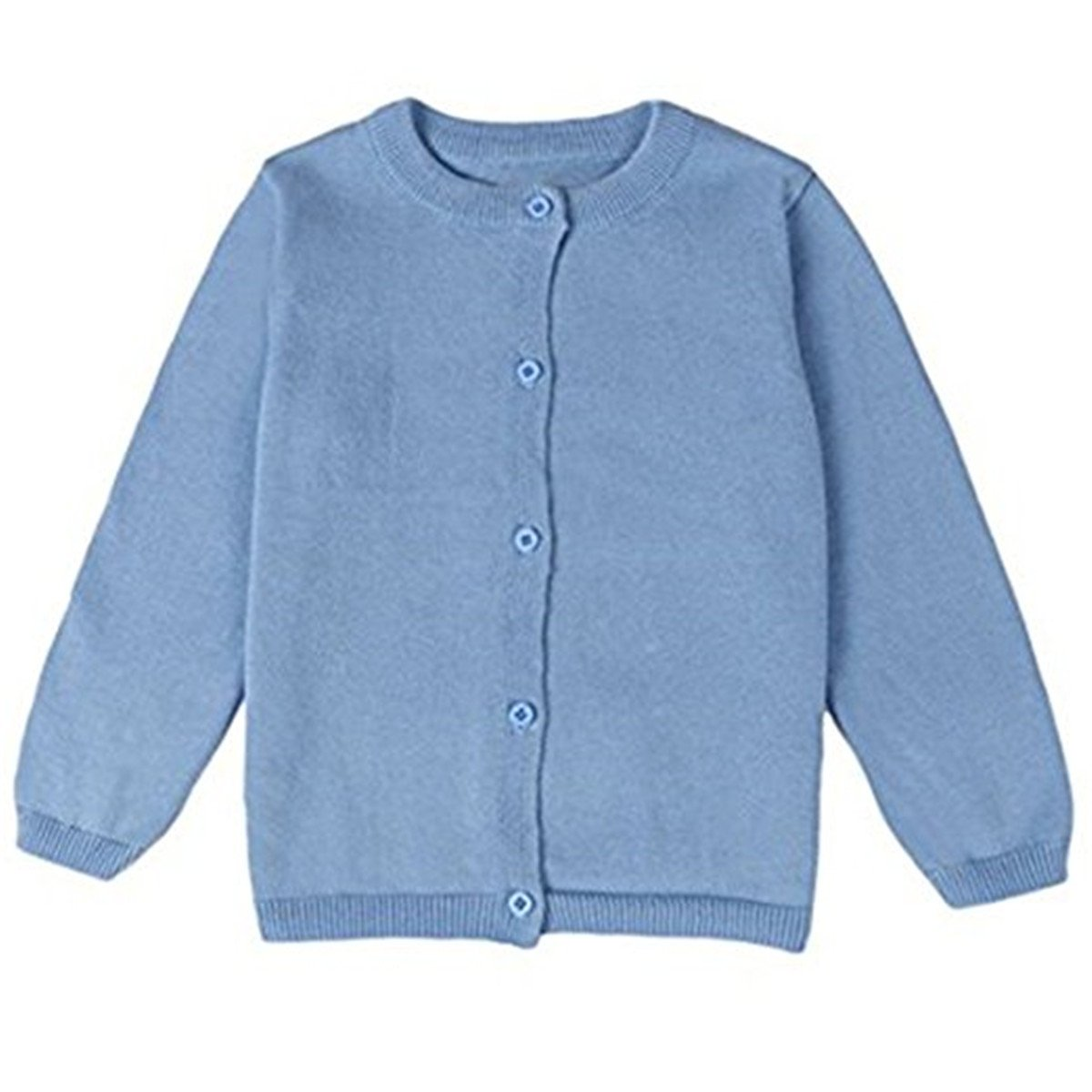 JELEUON Little Girls Cute Crew Neck Button-Down Solid Fine Knit Cardigan Sweaters 5-6 Years