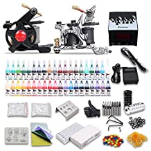 Professional Complete Tattoo Kit 2 Top Machine Gun 40 Color Ink Needle Power Supply