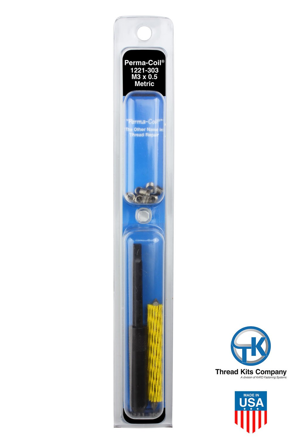 Perma-Coil 1221-303 Metric Thread Repair Kit M3X0.5 12PC Helicoil 5403-3 by Perma-Coil (Image #2)
