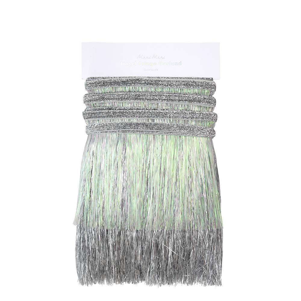 2 Layers Easy to Use Party Garland Meri Meri Silver Iridescent Tinsel Fringe Garland