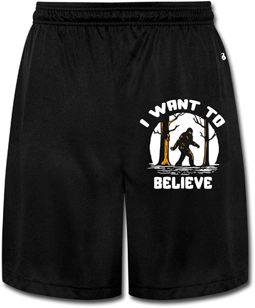 MH08OMG I Want to Believe Bigfoot1 Mens Soft Loose-Fit Athletic Jersey Shorts