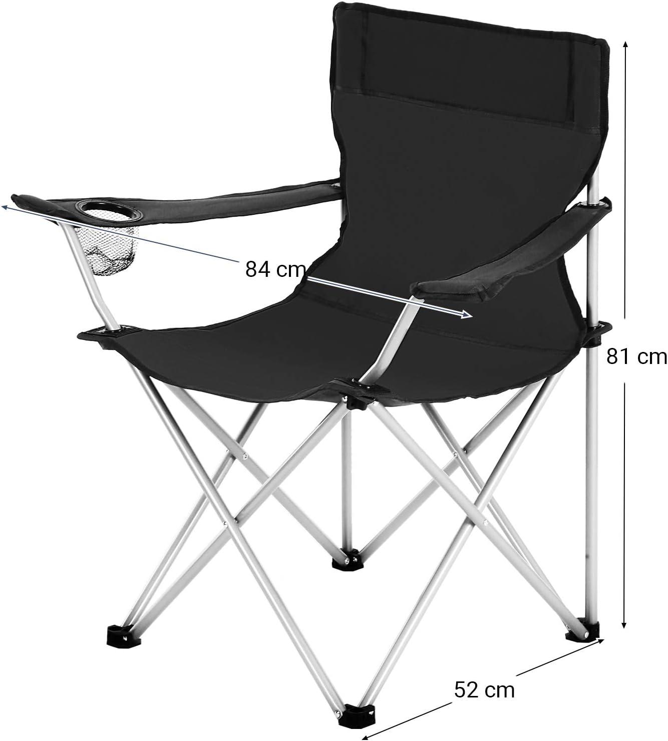 SONGMICS Juego de 2 Sillas de Camping Plegables Sillas para Exteriores con Reposabrazos y Portavasos Capacidad de Carga M/áx Estructura Estable Negro GCB01BK 120 kg