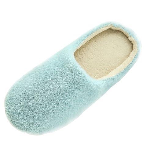 Minetom Erwachsene Plüsch Hausschuhe Winter Wärme Indoor Pantoffeln Home Rutschfeste Weiche Leicht Baumwolle Slippers für Herren Damen A Rose EU 40 21AwEdH