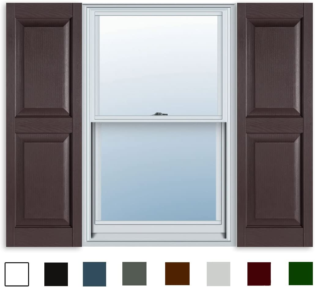 Paintable Pair 15 Inch x 47 Inch Standard Raised Panel Exterior Vinyl Shutter