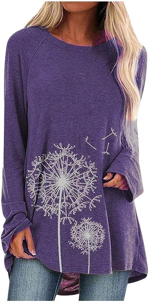 Lutos Plus Size Graphic Raglan Shirt for Women Round Neck Dandelion Print Casual Shirts Tops