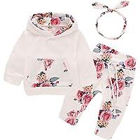 Bototao 3Pcs Newborn Baby Girls Clothes Hoodie Top Sweatshirt+Floral Pants Set Outfits