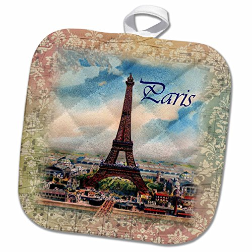 3D Rose Image of Eiffel Tower On Old Music Sheet with Word Paris Pot Holder, 8 x ()