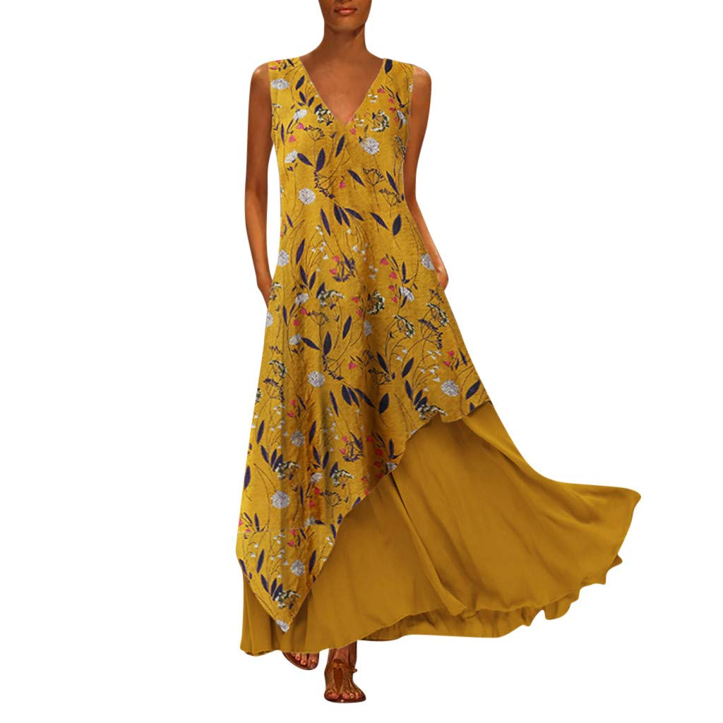 Womens Dresses Casual Irregular Maxi Dresses Layer Vintage Loose V Neck Sleeveless Boho Floral Long Dress with Pockets Yellow