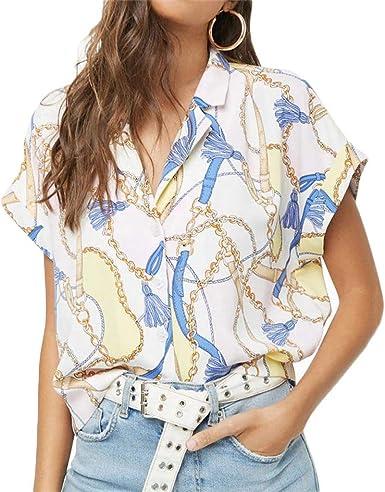 Berimaterry Blusas Camisetas de Gasa Ropa de Mujer Camisas Manga Ajustable Blusas Impresión Suelta Top Formal Oficina Trabajo Uniforme Señoras Casual Tops para Muje de Solapa de Moda para Shirt: Amazon.es: Ropa