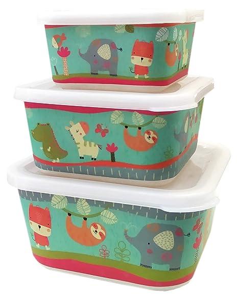 Buabi Conjunto 3 Tupper de bambú. Apto para lavavajillas. Material ecológico sin BPA, Ideal para bebé e Infantil (Jungla)