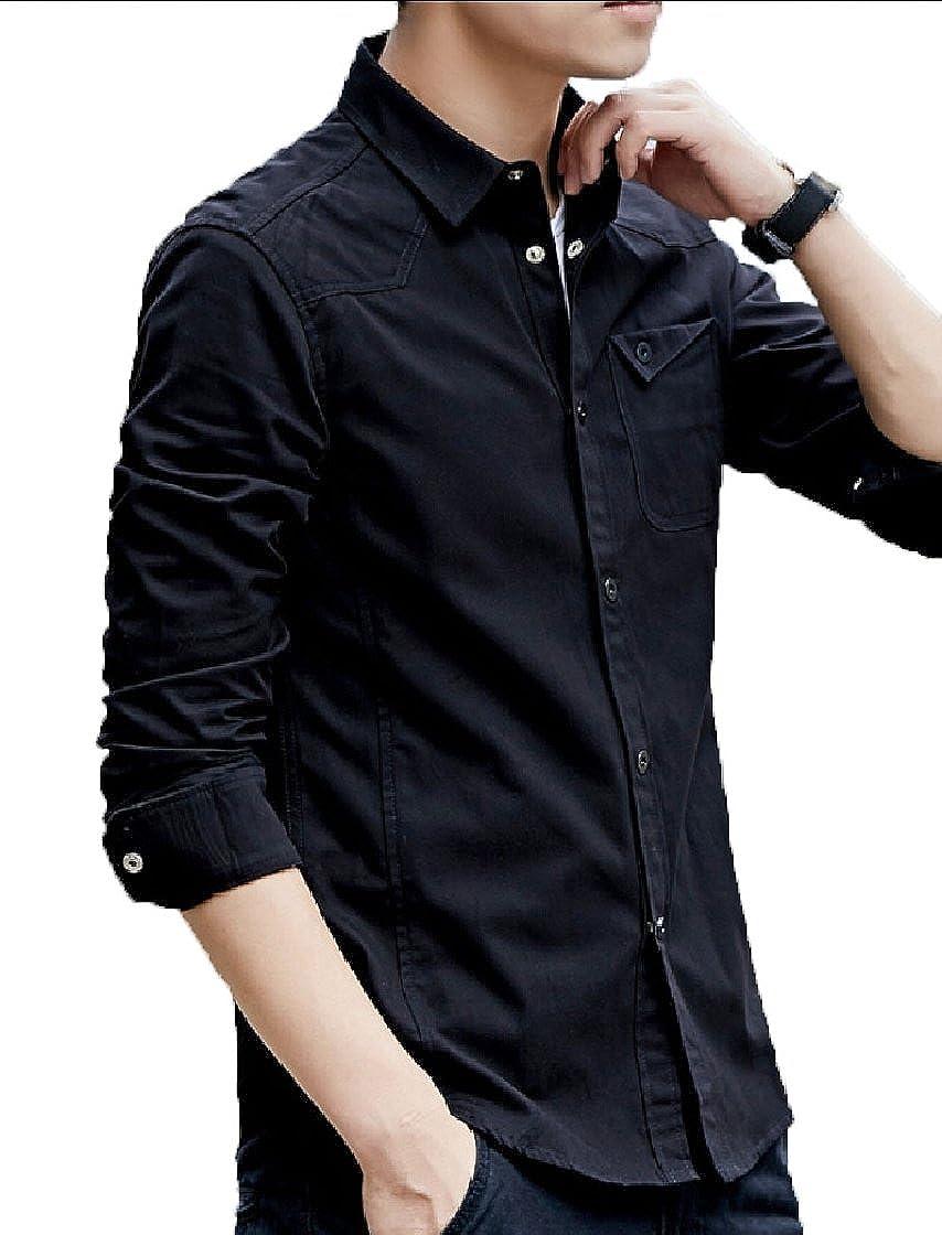 Keaac Mens Stylish Lapel Slim Long Sleeve Pocket Button Top Shirts