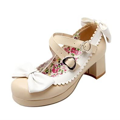 af87a0d11eb81 Agodor Womens Mid Block Heel Mary Janes Ankle Strap Pumps with Bowtie  Platform Cute Lolita Shoes