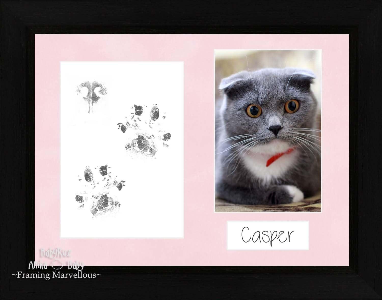 BabyRice – Kit de Pawprints costeras de huellas de gato mascota gato negro marco de fotos Set + pantalla plana de memoria de regalo paño de limpieza sin tinta personalizar Yourself: Amazon.es:
