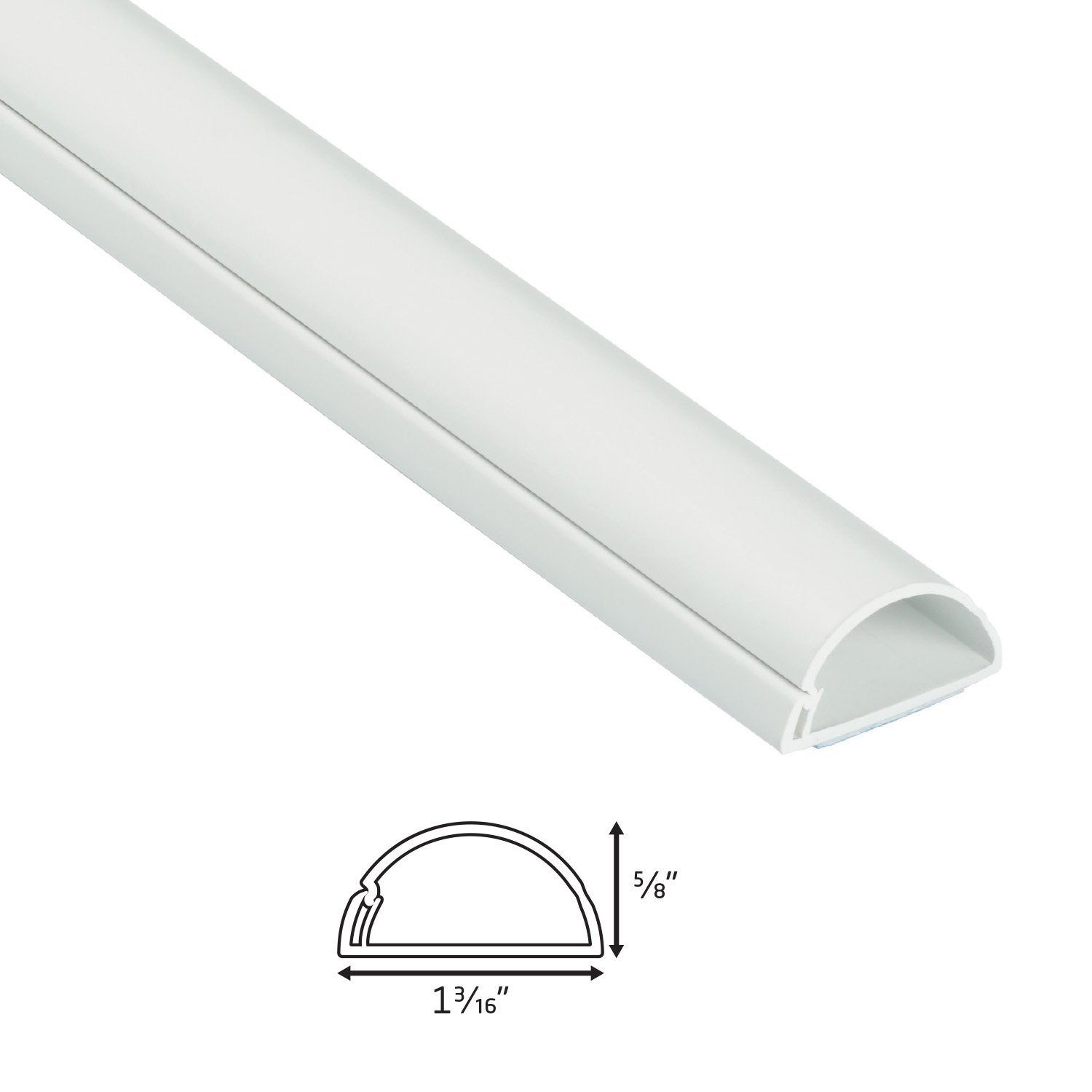 D-Line White Cable Raceway On-Wall Cord Cover 0.75 Cables W Pack of 8 x 0.39 | 39 Inch Medium Paintable Channel to Hide and Conceal Cords H Cable Management or Wires