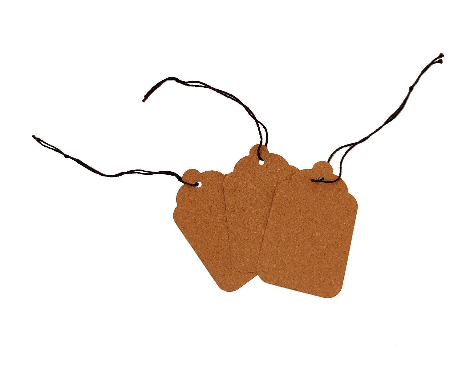Blank Kraft Strung Merchandise Pricing Tags with String, Brown #8 Tags, 1.75'' W x 2.875'' H, 200 Pack