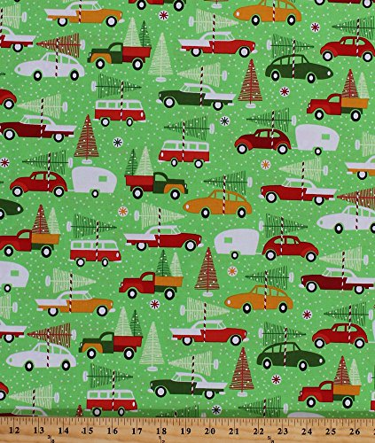 Cotton Christmas Trees Vehicles Trucks Vintage Cars Trailers Christmas Tree Farm Snow Snowflakes Winter Holidays Festive Swell Noel Green Cotton Fabric Print by The Yard (ack-15816-223-holiday) (Ack Green)