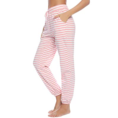 Abollria Women's Cotton Pajama Pants Stretch Lounge Pants with Pockets Pajama Bottoms at Amazon Women's Clothing store