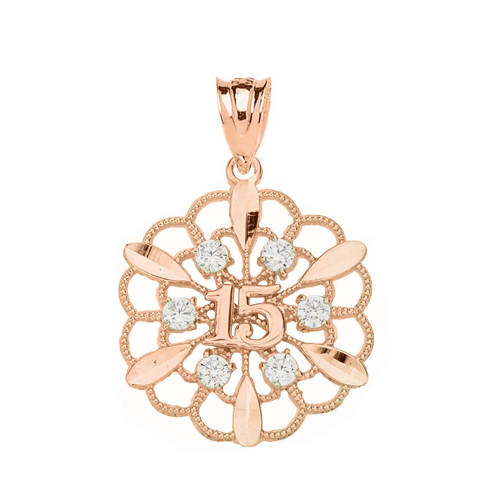 CaliRoseJewelry Beautiful Filigree Floral Design 15-Anos Quinceanera Pendant in 14k Gold Filigree