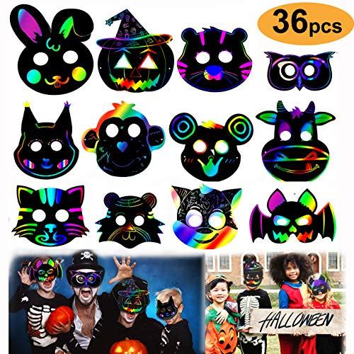 Gdaya 36 Set Magic Scratch Art Masks, DIY Rainbow Scratch Paper Animal Masks for Kids,Animal Cutouts Doodle Masks with Elastic Cords & Wood Stylus Costume Dress-Up Birthday Party ()