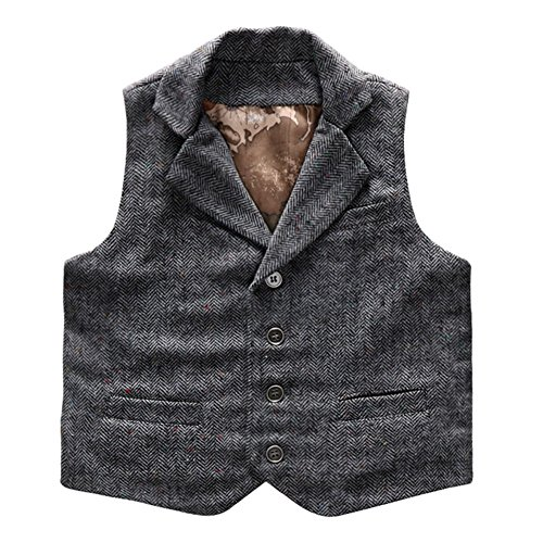Coodebear Boys' Girls' Waistcoat Map Lined Pockets Lapel Collar Vests Herringbone Grey Size 6T