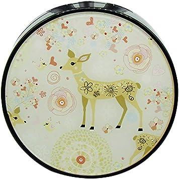 JUNGEN Caja lentes de redondo con Patrón de ciervo lindo con Estuche de Lentillas Pinza Aplicador Botella de Solución de Lente Espejo Incorporado kit de viaje: Amazon.es: Salud y cuidado personal