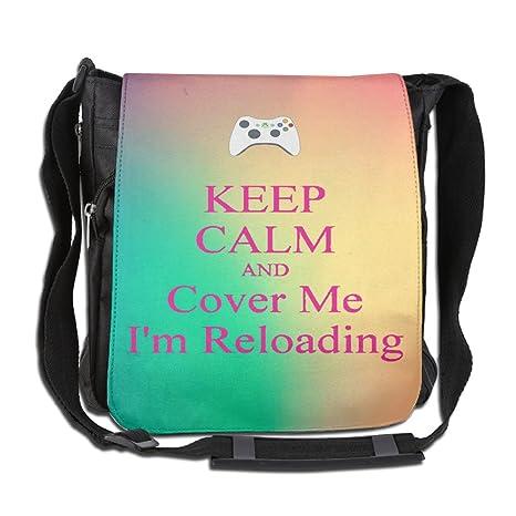 a55956782621 Men Wowen Outdoor Messenger Bag Keep Calm And Reloading School Bag  Crossbody Shoulder Bag-Black