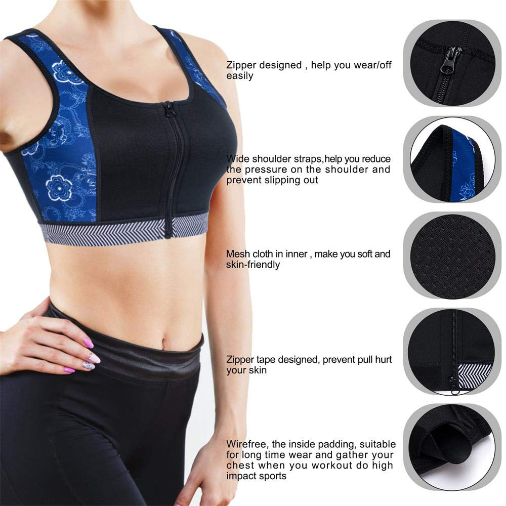 fe55208e1 CtriLady High Impact Workout Sports Support Bra Full Cup Top Vest with  Front-Zipper Wirefree for Women Fitness at Amazon Women s Clothing store