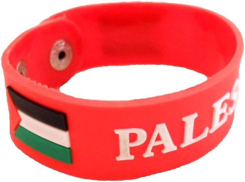 Bandera de Palestina pulsera con forma de silicona de goma ajustable deporte muñequera Cuff, Rojo: Amazon.es: Deportes y aire libre