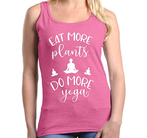 Shop4Ever Eat More Plants Do More Yoga Womens Tank Top Vegan Tank Tops