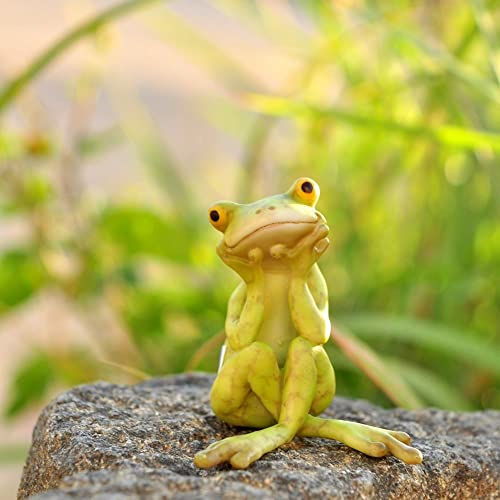 Top Collection Miniature Fairy Garden and Terrarium Frog in Thought Statue