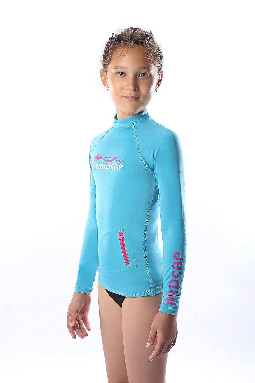 c6785a4c9b Amazon.com: MADCAP Girls Rash Guard Long Sleeve Swimwear Swim Surf Shirt  Top UV Sun Protection for Toddler and Teen Girls 4-16 Years Old: Clothing