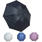 Choler Grid Umbrella Portable Outdoor Umbrella Windproof Rain Umbrella Sunshade Anti-UV(Black)