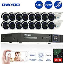 OWSOO 16CH Full 720P 1500TVL AHD DVR Security Kit with 2TB Hard Drive P2P & 16x 720P Outdoor CCTV Cameras, Weatherproof and IR Night Views, Plug and Play