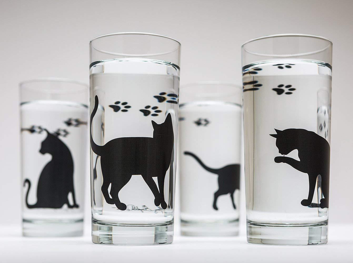 Cat Lovers Cat Glassware Gift Set Cat Glasses Black Cats Set of Four 16oz Glasses Birthday
