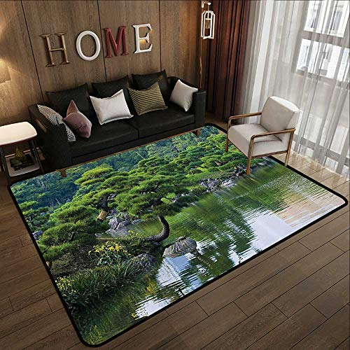 Indoor Outdoor Rugs,Japanese Decor,River Landscape with Trees Flowers Stones Silence in Asian Natural Beauty Garden Theme Photo,Green 71
