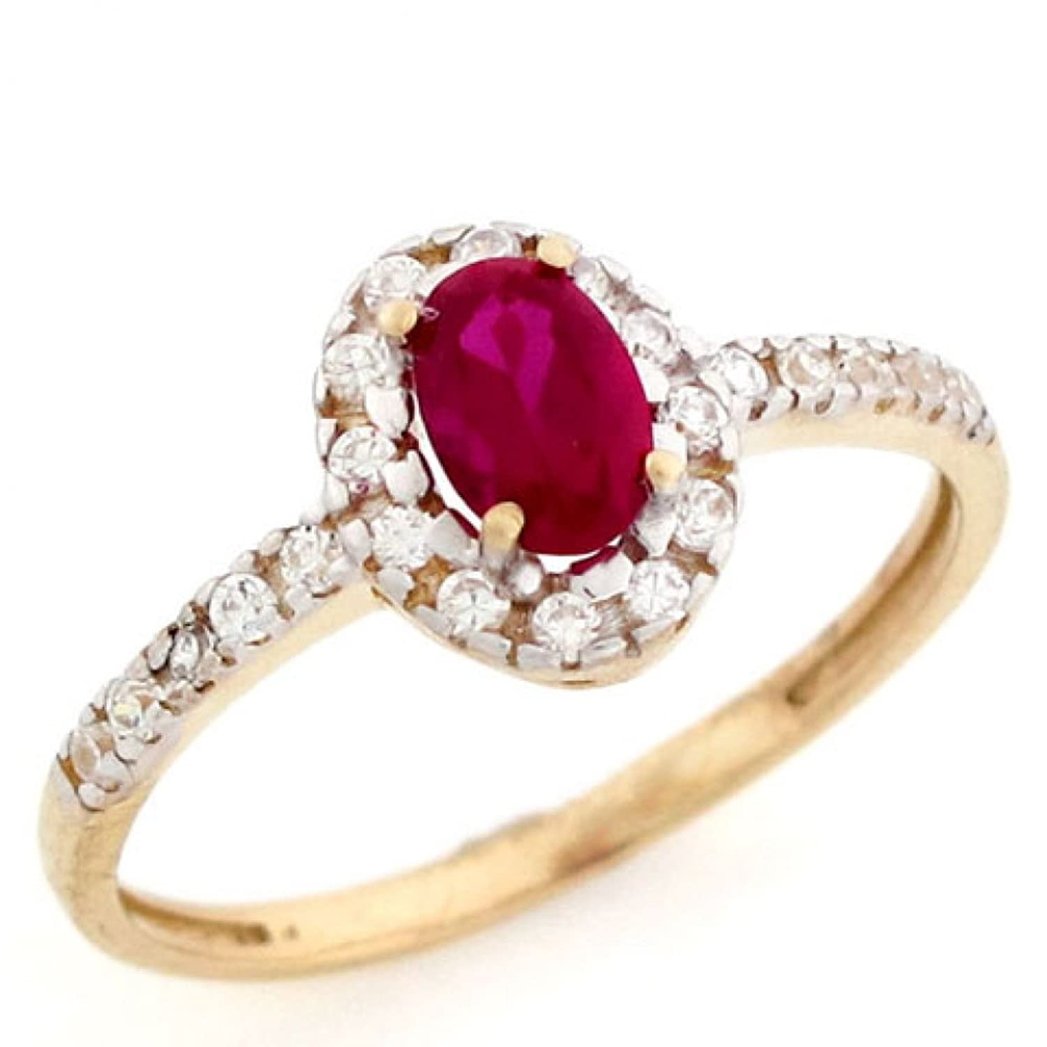 10k Solid Real Gold Oval Simulated Ruby July Birthstone CZ Ring Jewelry