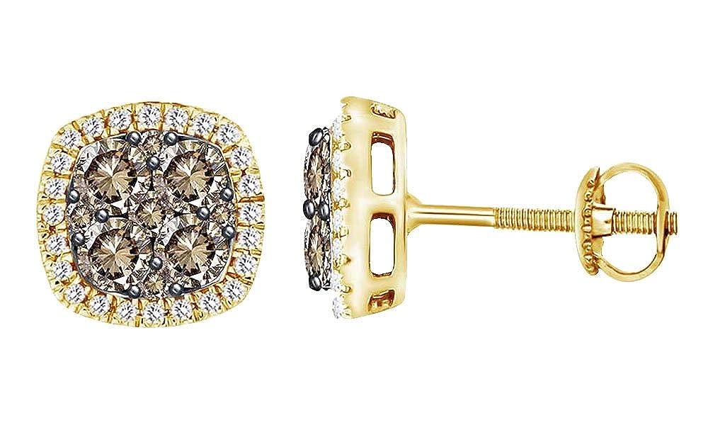 1 Karat Rundschliff-Diamant-Weißszlig;, Damen-Ohrstecker 14 Karat 585 Weißszlig;Gold 14 Karat (585) GelbGold