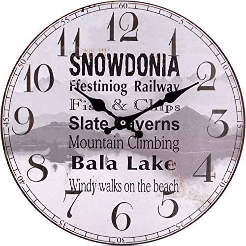 34cm Battery Operated Clock Featuring Snowdonia And Surrounding Areas
