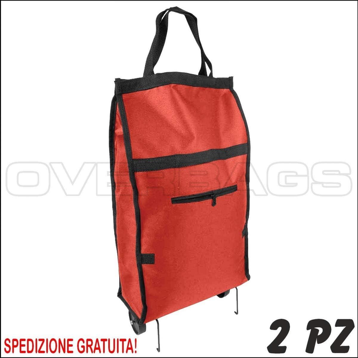 Rosso 2 PZ Borsa Shopper Carrello Trolley della Spesa Ripiegabile in Poliestere CM 32X14X54 OVERBAGS