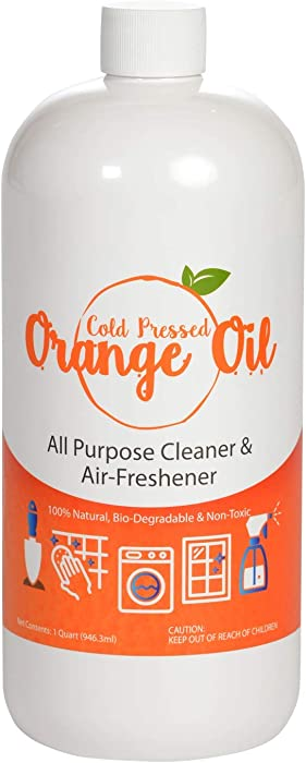 Premium Cold Pressed Orange Oil- 32 oz (D-Limonene), All Natural Cold Pressed Orange Oil