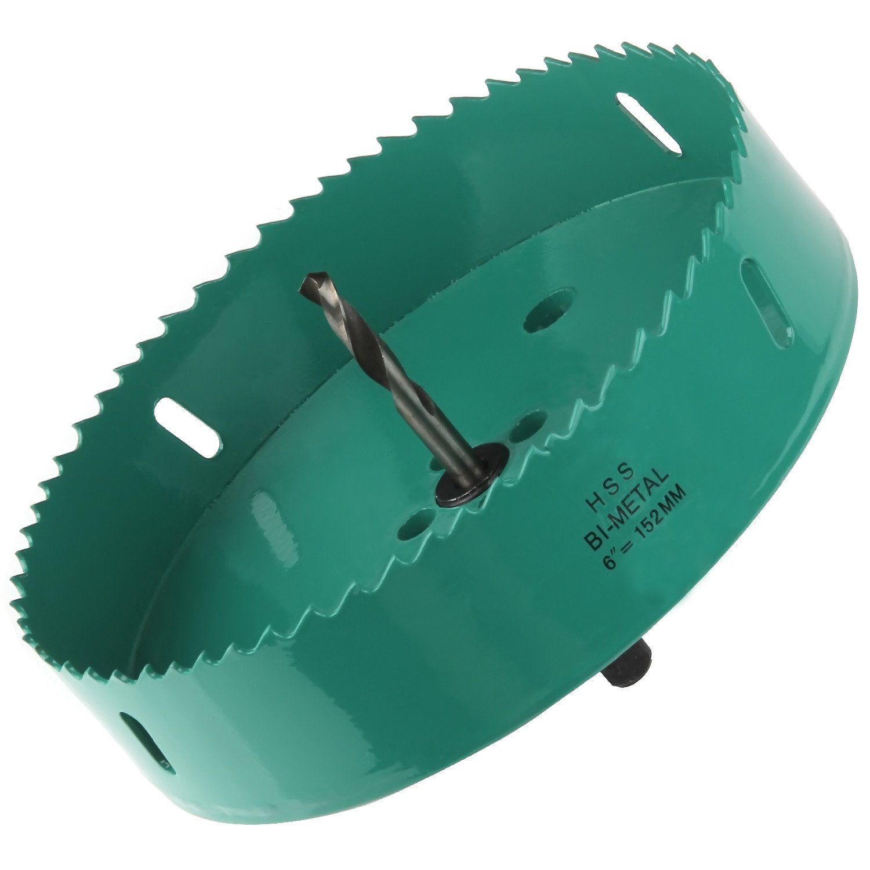 Acrux7 Cornhole Boards Hole Saw Blade, 6 inch (152mm) Corn Hole Drilling Cutter for Cornhole Game, Heavy Duty Steel Design(Green)