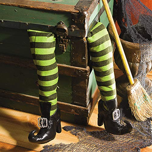 Deluxe Plush Witch Legs Green and Black with Shoes Great Halloween Decor by Oriental Trading Company -