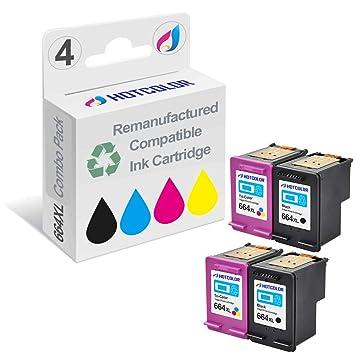 HOTCOLOR - Juego de 4 Cartuchos de Tinta para Impresora HP DeskJet ...