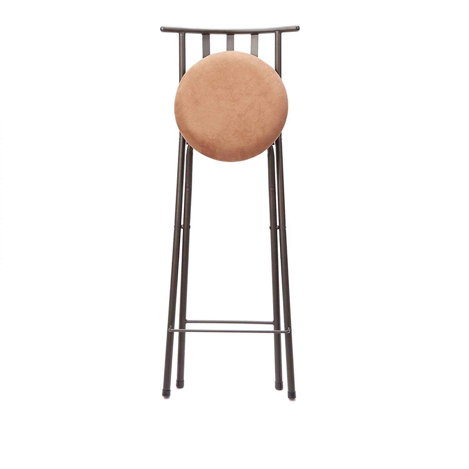 "Amazon Slat Back Folding 30"" Barstool Bronze with Beige"
